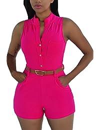 HOTAPEI Women V Neck Wrap Buckle Up Short Pants...