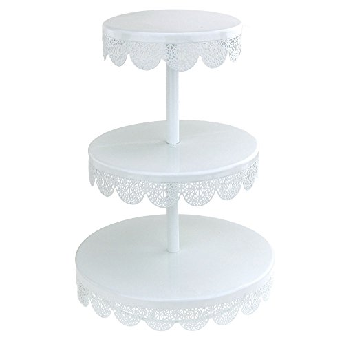 Homeford Round Eyelet Metal Cupcake Holder, 3 Tier, White, 14-Inch