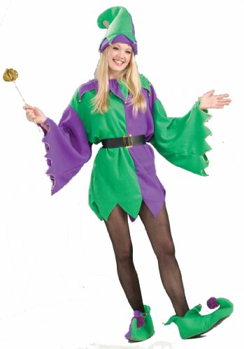 Forum Jolly Jester Mardi Gras Costume, Green/Gold/Purple, Adult - Jester Costume For Woman