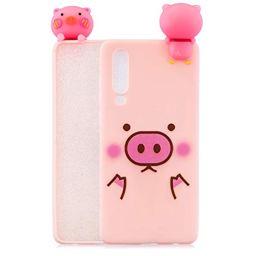 Tznzxm for Huawei P30 Lite Case Funny 3D Cartoon Animals Character Shockproof Full Protective Lovely Soft Silicone Rubber Anti-Scratch Non-Slip Phone Back Case Cover for Huawei P30 Lite Lovely Pig
