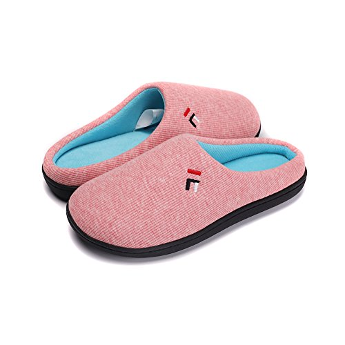 - Womens Lightweight Fleece Slippers Memory Foam Plush Lining Anti Slip House Shoes w/Anti-Slip Sole, Indoor/Outdoor Pink-S