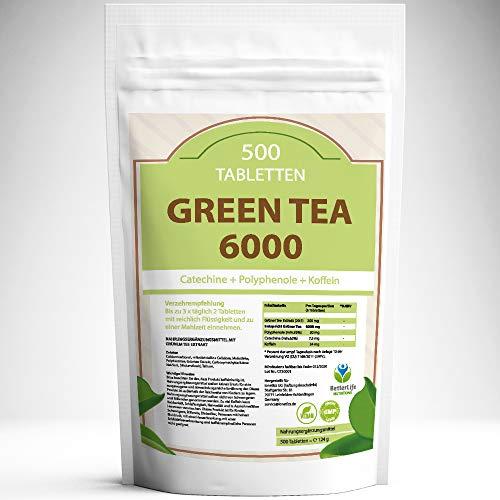 GREEN TEA 6000 – 500 Tabletten XXL Packung für 3 Monate – Vegan – mit 6000mg Grüntee Pulver je Tag / Grün Tee Extrakt 20…