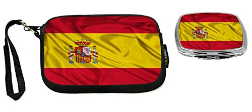 Rikki Knight Spain Flag Design Neoprene Clutch Wristlet with Matching Square Compact Mirror by Rikki Knight