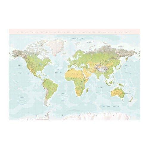 Ikea Bjorksta Premiar Picture Planet World Map BJÖRKSTA 803.291.21 Picture Only