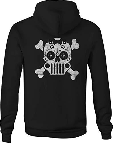 Rubicon Girl Zip Up Hoodie Sugar Skull Hooded Sweatshirt for Women - 4XL Black