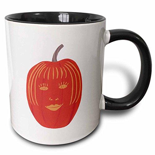 3dRose CherylsArt Holidays Halloween - Painting of a carved female face on a Halloween pumpkin - 15oz Two-Tone Black Mug (mug_165766_9) -
