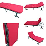 'Amaze' Folding Adjustable (190x80 Cm) Portable Camping Hotel, Hospital, Home Bed with Mattress with wheels (Tometto Red)