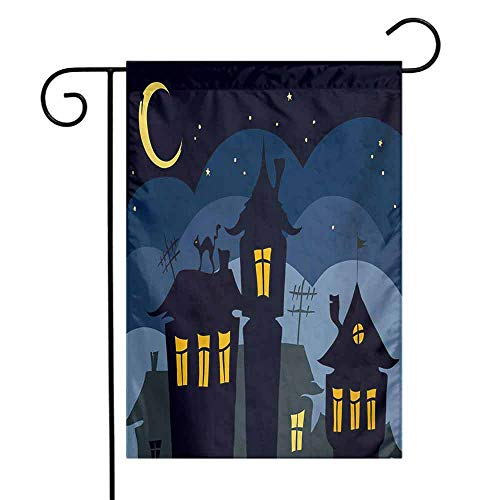 Halloween Garden Flag Old Town with Cat on The Roof Night Sky Moon and Stars Houses Cartoon Art Premium Material W12 x L18 Black Yellow Blue -