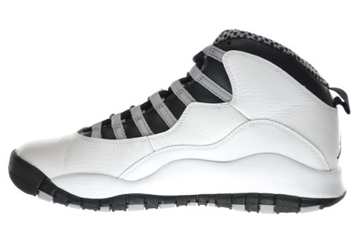 Nike Air Jordan Retro 10, Scarpe da Basket Uomo White, Blck-lt Stl Gry-vrsty Rd