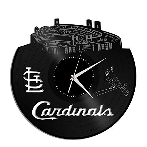 - VinylShopUS - Cardinals Baseball Team Vinyl Wall Clock Sports Clock | Unique Gift for Sports Baseball Lovers | Home Room Decoration