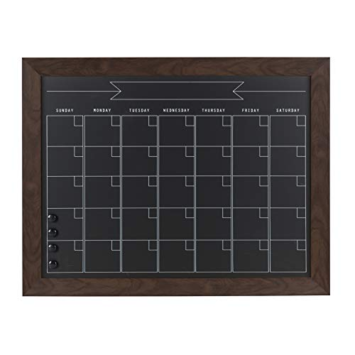 - DesignOvation Beatrice Framed Magnetic Chalkboard Monthly Calendar, 23x29, Walnut Brown