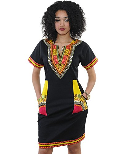 women-bohemian-v-neck-vintage-printed-ethnic-style-summer-shift-dress-m-black-yellow