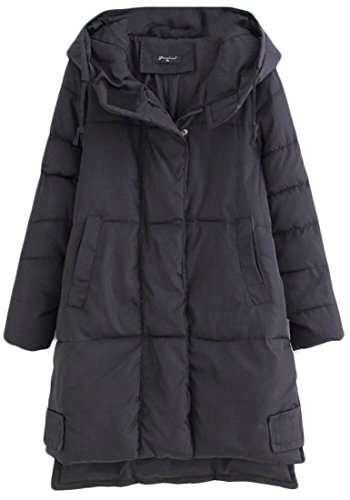 Thick Coat Black Outwear Sleeve M Down amp;S Loose Long Hoodie amp;W Women's Winter 1qatOg