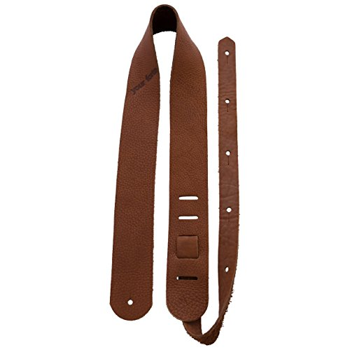 Wood Guitar Straps (Your Forte Leather Guitar Strap - Fits Acoustic, Electric, and Bass Guitars, Adjustable to Any Player - Cool Classic Vintage Look, American-made, Thin, Soft, Light, Comfortable, Bison Leather)