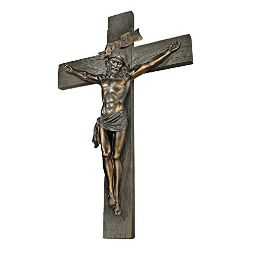 Jesus Christ Wall Cross - Design Toscano Crucifixion Cross of Jesus Christ Wall Sculpture in Faux Verdigris Bronze