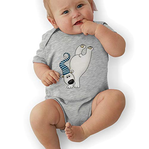 Infant Baby Girl's Bodysuit Short-Sleeve Onesie Polar Bear Dance Print Jumpsuit Spring Pajamas