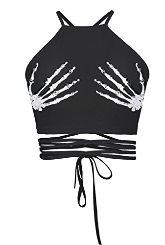 Urtrend Women's Teens Girls Printed Halter Bandage Vest Crop Top Shirt(Skeleton Hands)