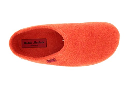 Andres Machado AM001.Comfortable Felt Slippers with footbed.MADE IN SPAIN.UNISEX.Petite,Medium & Large sizes:UK 0.5 to 14/EU 32 to 50. + CHILD UK 8 to 12/EU 26 to 31 Orange Felt