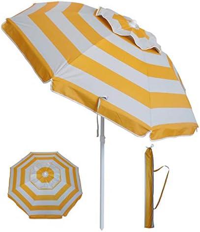 YATIO-6ft Beach Umbrella Sun Shelter with Tilt, Fiberglass Ribs, Telescopic Pole, Windproof Canopy,Carry bag-Yellow Stripe