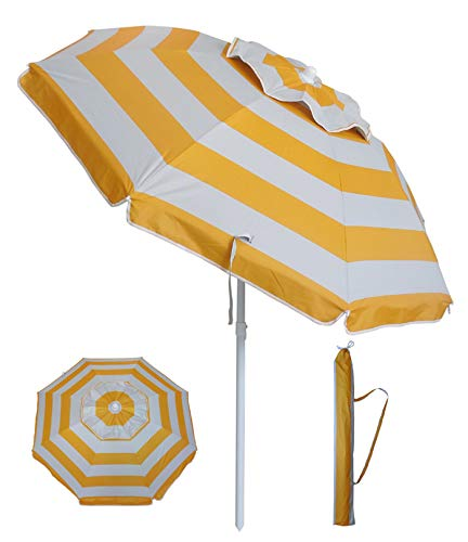 YATIO-6ft Beach Umbrella Sun Shelter with Tilt, Fiberglass Ribs, Windproof Canopy,Telescopic Pole, Carry Bag-Yellow Stripe