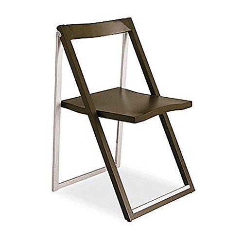 Walnut wood and aluminium folding chair