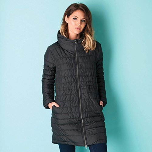 Bench Women's Longline Padded Coat With Stand Collar 6 Black