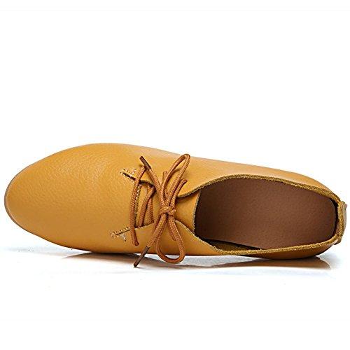 Zapatos Amarillo Cordones DoraTasia 1 para Mujer de de Cuero a8wEqdSx