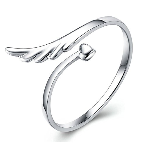 TomSunlight 925 Sterling Silver Adjustable Vintage Angel Wings Heart Petite Open Band Ring