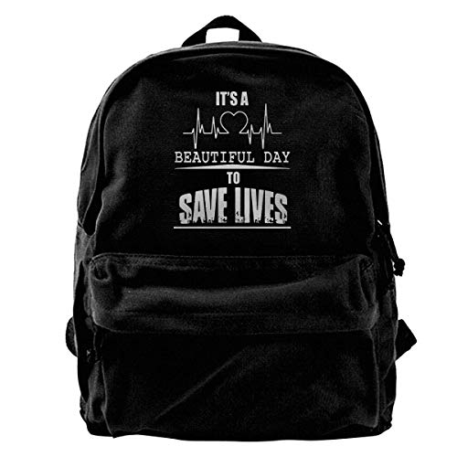 NOLIEE Canvas Backpack It's A Beautiful Day to Save Lives Canvas Shoulder Backpack Limited Edition Premium Chrismats Leisure Backpack Travel ()