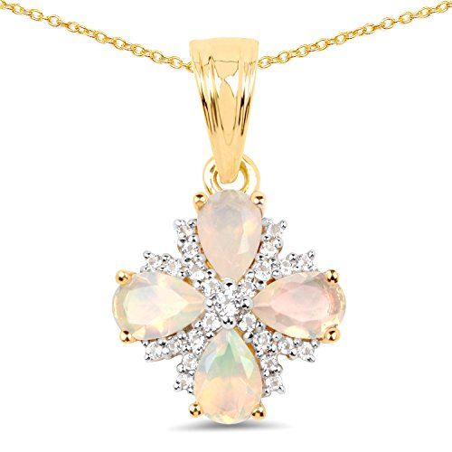 925 Sterling Silver & 14K Yellow Gold Plated Genuine Ethiopian Opal and White Topaz Pendant (1.19 Carat) ()