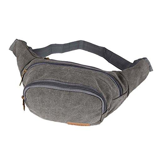 ysber Fashion lienzo Viajes Deportes Cintura Paquetes ajustable bolsa de cintura Correr Bolsa Bolsa de lona Kit pecho paquete bicicleta Mochilas Senderismo Mochilas para los hombres (Lake Blue) gris