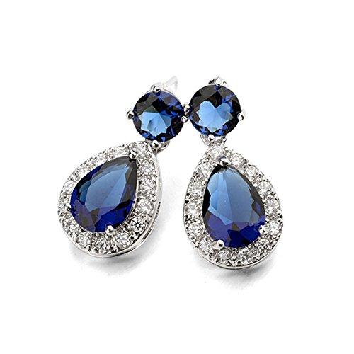 Silver Tone Teardrop Shaped Round Cut Sapphire Blue Swarovski Elements Crystal Stud Earrings for ()