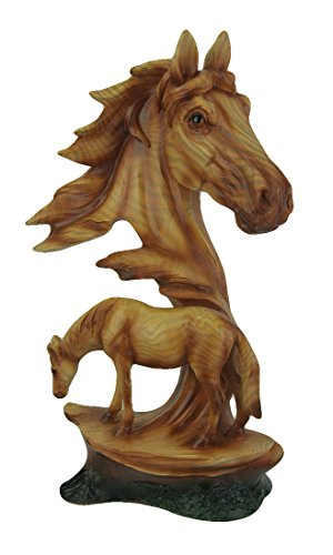 Zeckos Faux Carved Horse Head and Horse Wood Look Statue ()