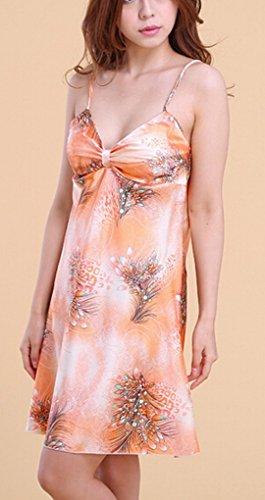 SMARTSTAR – Sexy Mesdames Nuisette courte de nuit Robe de nuit peignoir Lingerie En col V-profond - Taille S/M – Orange