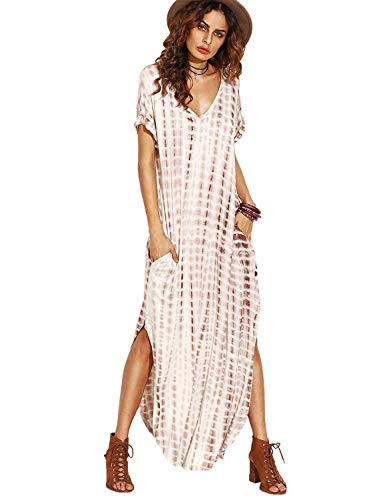 Caat Aycox Casual Maxi Short Sleeve Split Tie Dye Long Dress Coffee