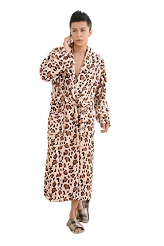 WELVT Men's Shawl Collar Full Length Plush Soft Warm Fleece Bathrobe Robe Pajamas (Free Size, Suit For L/XL/XXL, Coffee Leopard)
