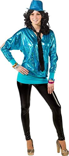 Ladies 80's Metallic Blue Long Cold Shoulder Disco Diva Fun Fancy Dress Costume Outfit Top Plus Size UK Size 6-24 (UK 22-24 (EU ()