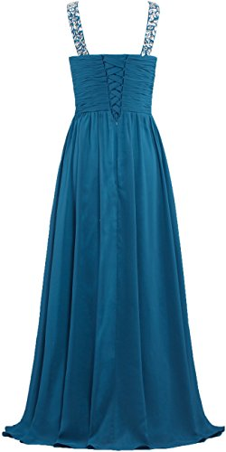 V Sangles De Cristal De Cou De Fourmis Femmes Longues Robes De Bal Robes De Soirée Bleu Sarcelle