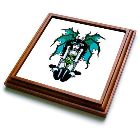3dRose Russ Billington Designs - Gothic Vamp Girl Tattoo Style in Green and Blue - 8x8 Trivet with 6x6 ceramic tile (trv_293774_1)