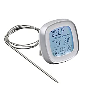 Touchscreen Digital Meat Thermometer with Timer Alert Function for Barbecue and Kitchen Cooking Grill Steak