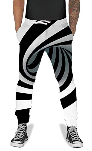 (UNIFACO Men Women 3D Printed Zebra Maze Sports Rave Jogging Cool Parachute Pants Sweatpants with)