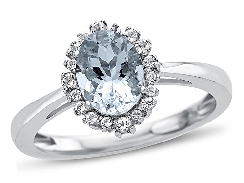 Finejewelers 10k White Gold 8x6mm Oval Aquamarine with White Topaz accent stones Halo Ring Size 7.5