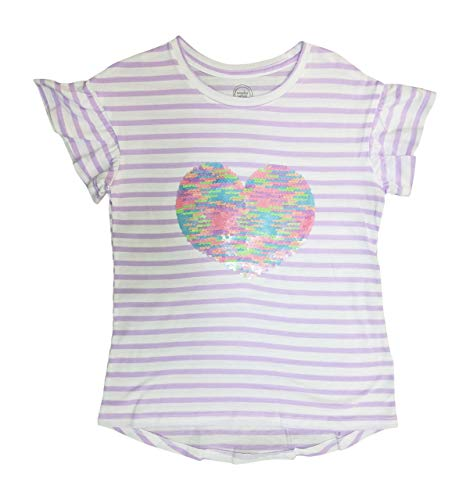 Flippy Sequin Heart Girls Shirt - Lavender White Stripes with Pastel Sequins (Small 6-7)