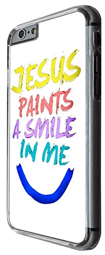 979 - Cool fun cute art jesus paints a smile in me colourful christian love faith Design For iphone 6 6S 4.7'' Fashion Trend CASE Back COVER Plastic&Thin Metal -Clear