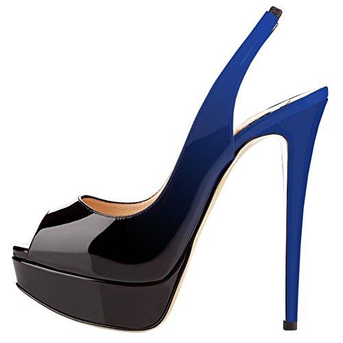MERUMOTE Women's Slingbacks Peep Toe High Heels Shoes Platform Pumps Gradient Wedding Party Blue/Black8US