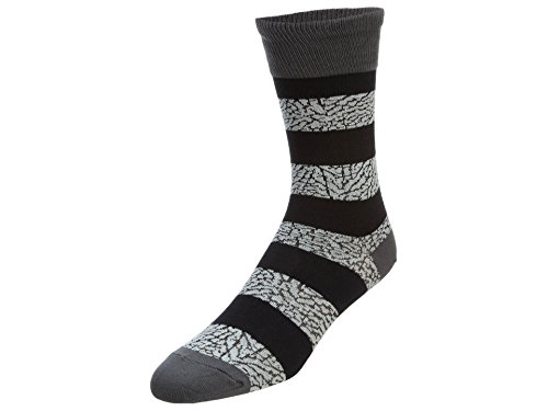 Jordan Nike Elephant Striped Jumpman Crew Socks-Gray/Black-6-8 by Jordan