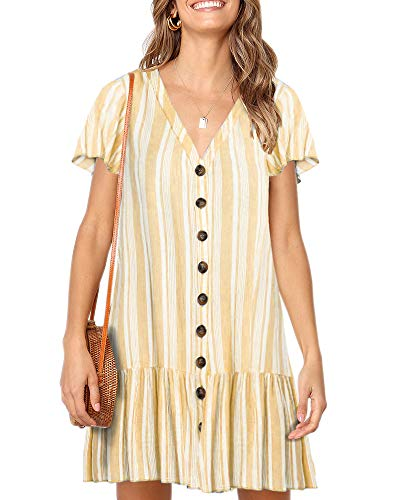Striped V-neck Shorts - Imysty Womens Polka Dot V Neck Button Down Ruffles Loose Mini Short T-Shirt Dress (Medium, Z-Striped)