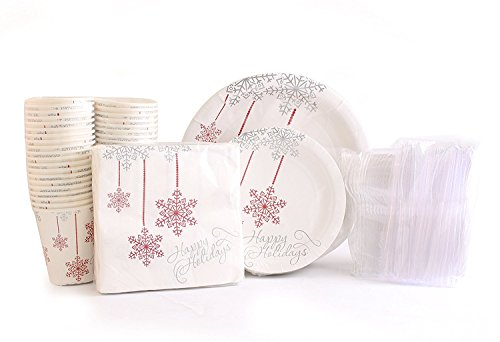 Christmas Disposable Dinnerware for 40 Guests, 280 Pieces Set of Paper Plates, Cups, Napkins, Plastic Forks and Knives. (Discount Christmas Dinnerware Sets)