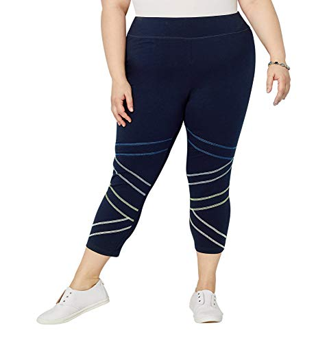 - Avenue Women's Contrast Stitch Capri Active Legging, 26/28 Navy