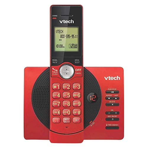 VTech CS6929-16 DECT 6.0 Expandable Cordless Phone System with Answering Machine, 1 Handset - Red